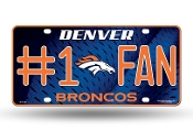 Denver Broncos #1 Fan Metal License Plate